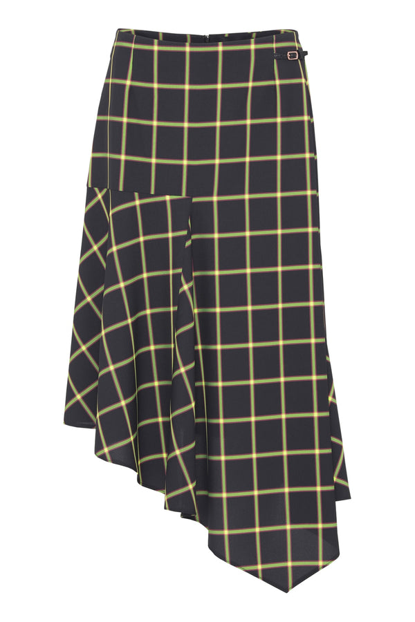 Barret  Skirt - Navy lime checks
