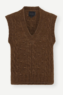 Ellery Knit Vest - Dark Brown