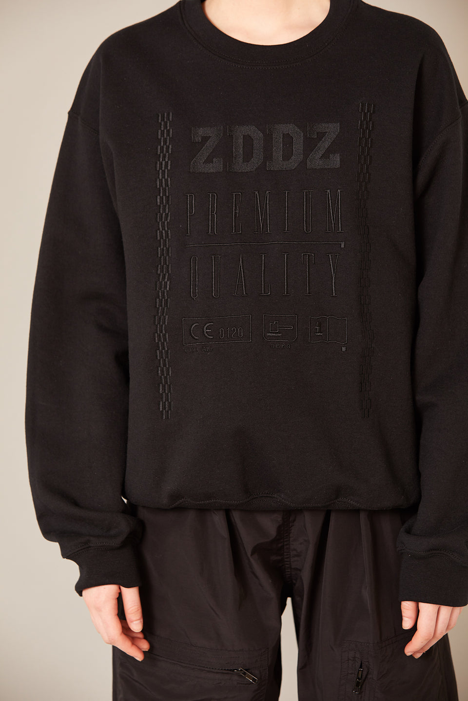 Premium Quality Embroidery Sweatshirt Black