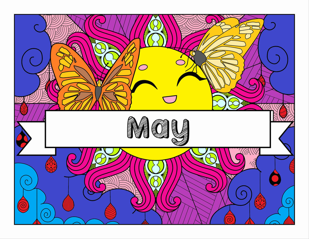 May and Flower Garden Themed Printable Coloring Pages & Journal Planner Pages