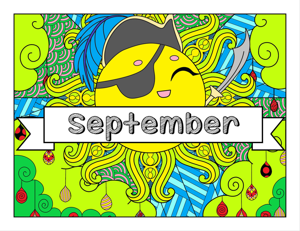 September and Pirate-themed Coloring Book and Planner, Mandalas - 33-Page Printable PDF for Adults and Children
