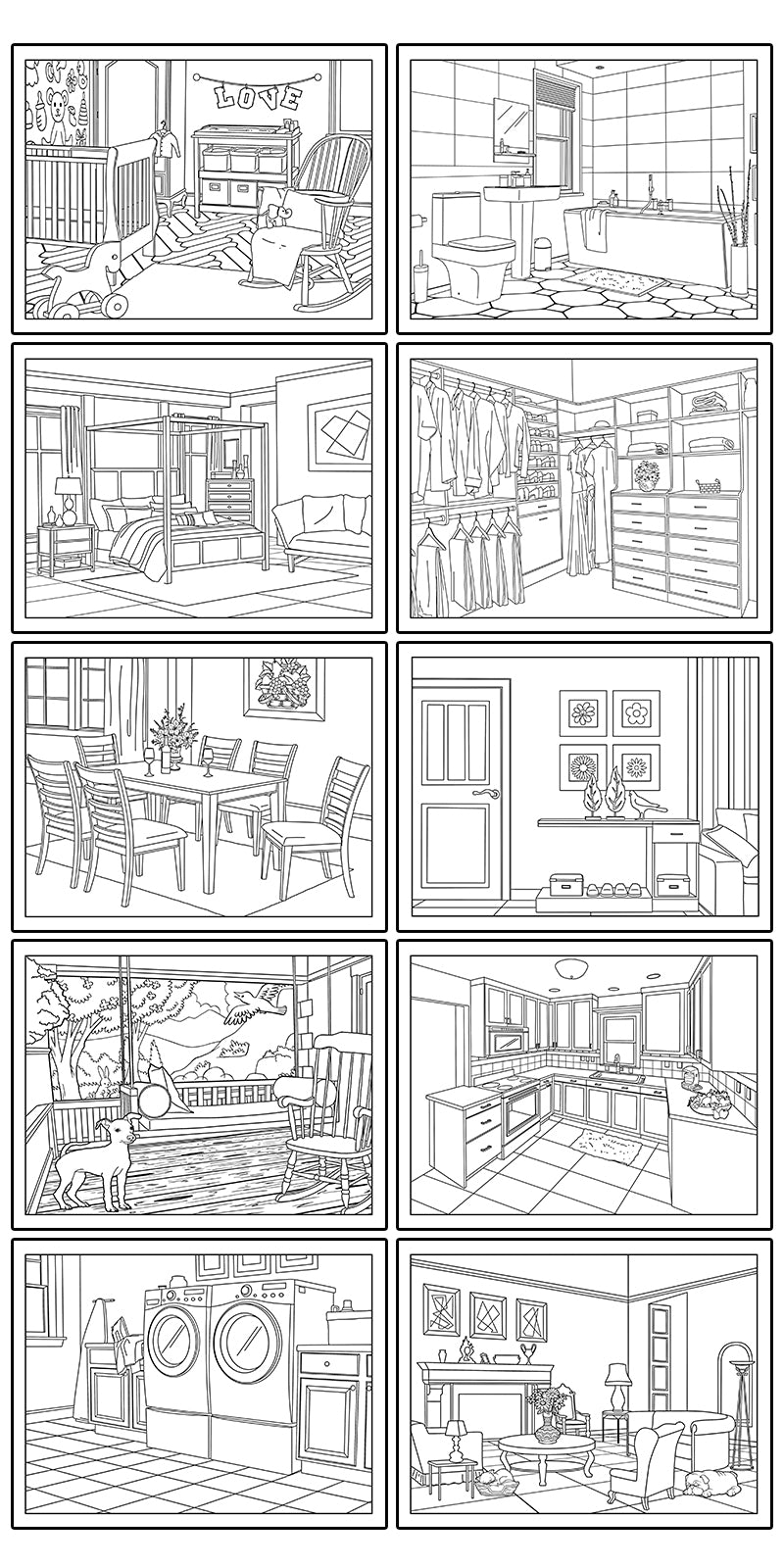 Welcome Home 10-Page Printable Coloring Book PDF