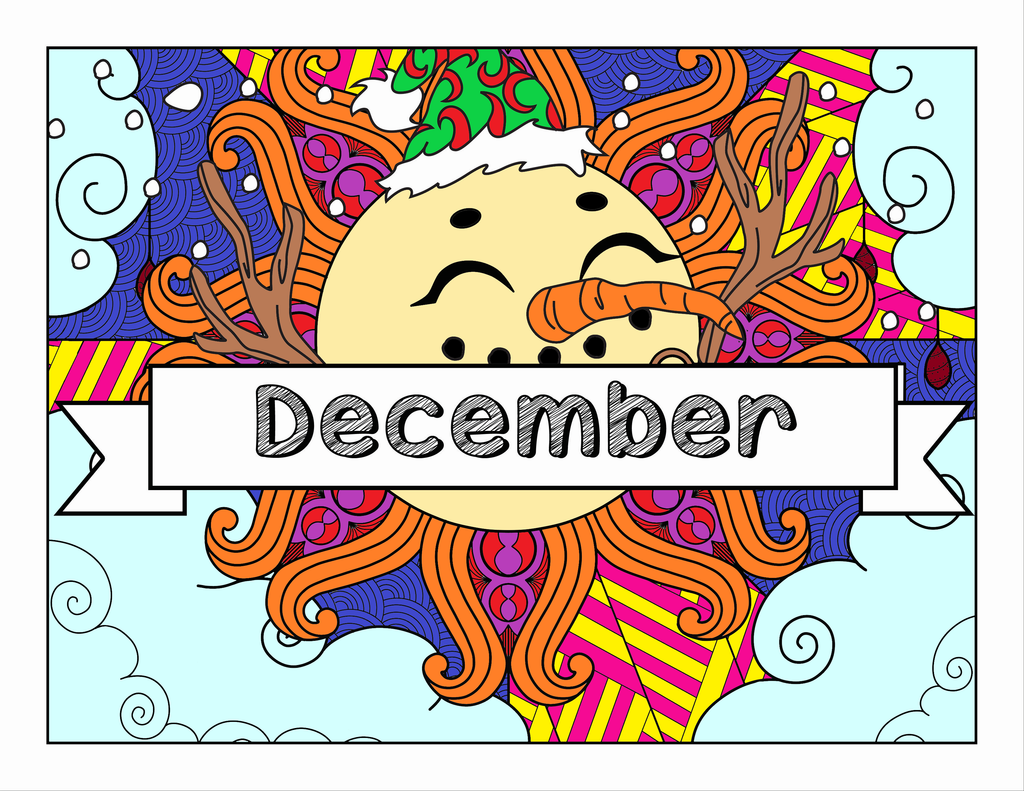 December and Winter Christmas-Themed Coloring Book and Planner, Mandalas - 33-Page Printable Digital PDF for Adults and Children