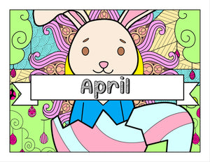 April and Easter-Themed Digital Printable Coloring Pages & Journal Planner Pages