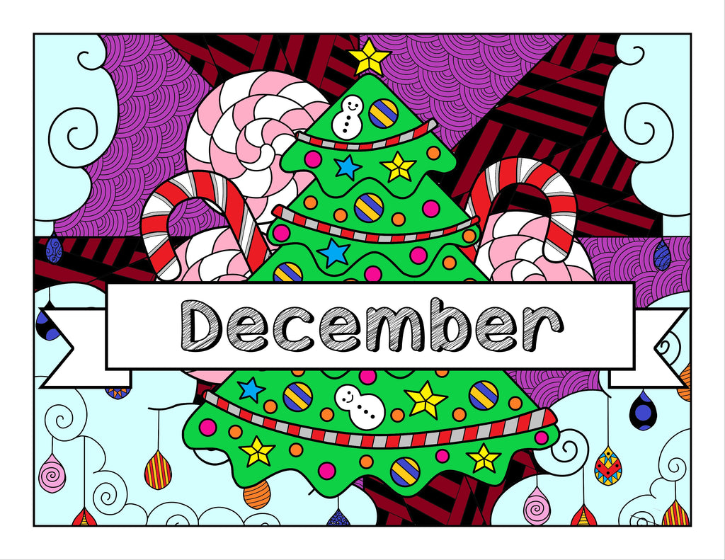 December and Christmas-Themed Coloring Book and Planner, Mandalas - 35-Page Printable Digital PDF for Adults and Children