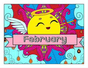 February and Love-Themed Coloring Book and Planner, Mandalas - 35-Page Printable Digital PDF Coloring Book for Adults and Children