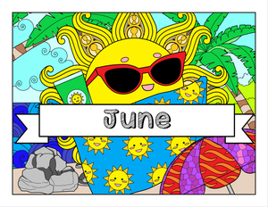 June and Beach-Themed Printable Coloring Pages & Journal Planner Pages