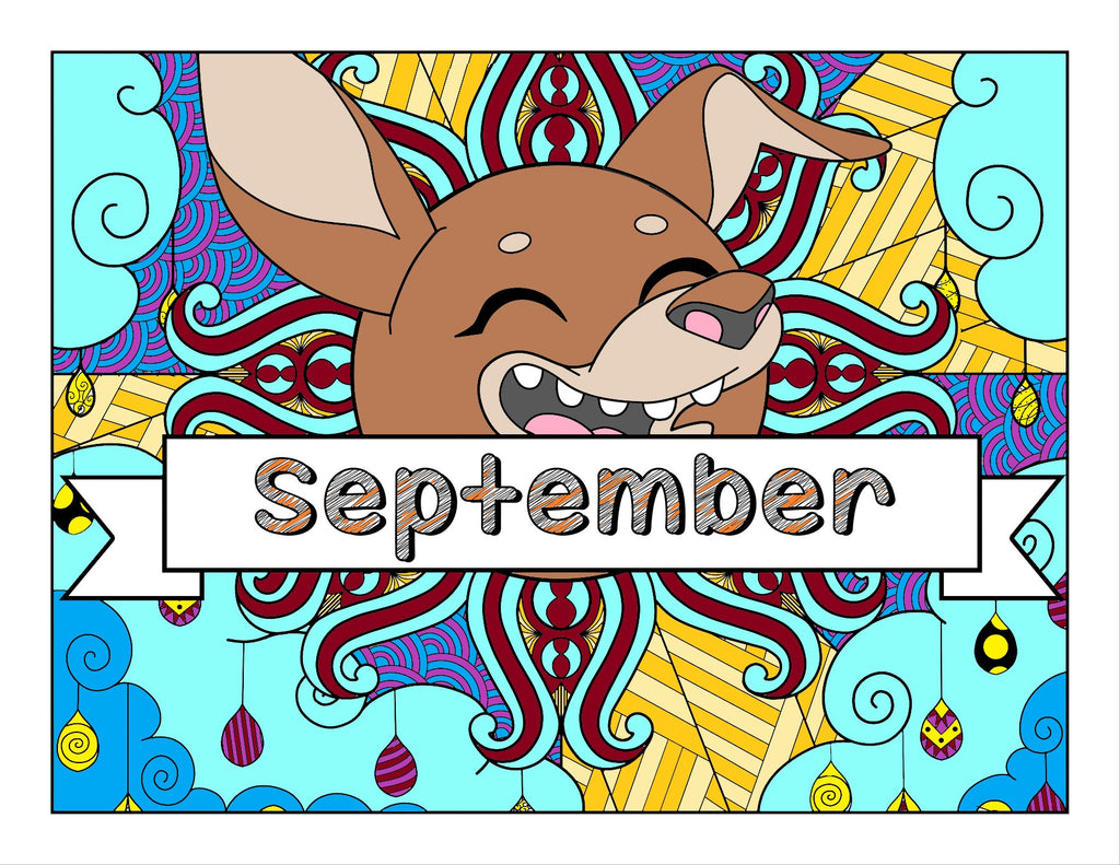 September and dog-themed Coloring Book and Planner, Mandalas - 35-Page Printable PDF for Adults and Children