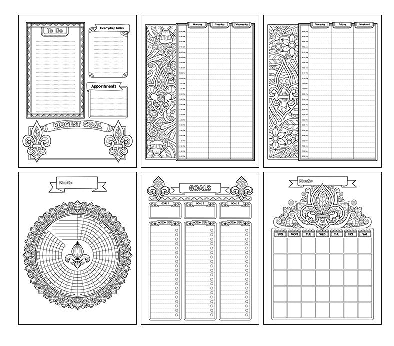 Fleur De Lis Precious Planner Coloring Book- Fleur De Lis-Themed Printable and Digital Undated Planner