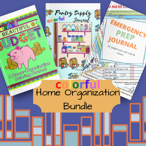 Colorful Home Organization Digital Printable Planner Journal Bundle