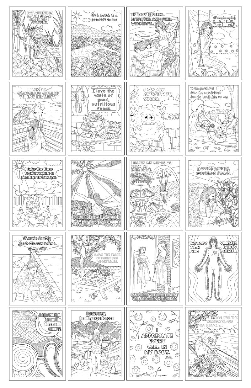 Awesome Affirmations Healthy Eating 20 Printable Coloring Pages