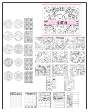 June Printable Coloring Pages & Journal Planner Pages - Package #1