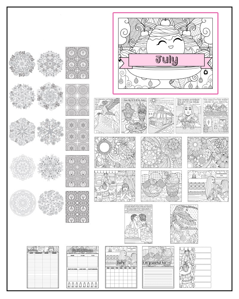 July and Ice Cream Themed Coloring Book and Planner, Mandalas - 35-Page Printable PDF for Adults and Children