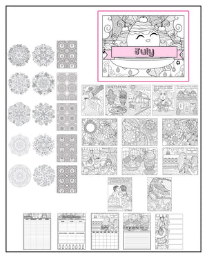 July Coloring Book and Planner, Mandalas - 35-Page Printable PDF for Adults and Children. Pack #1