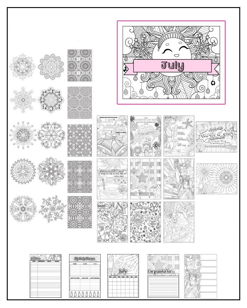 July and Independence Day-Themed Coloring Book and Planner, Mandalas - 32-Page Printable PDF for Adults and Children