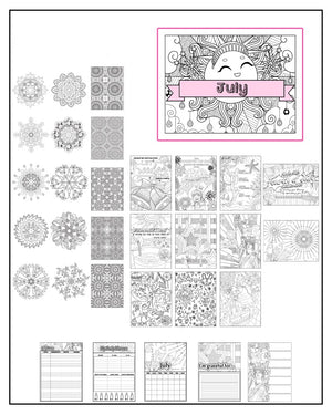 July Coloring Book and Planner, Mandalas - 32-Page Printable PDF for Adults and Children. Pack #2