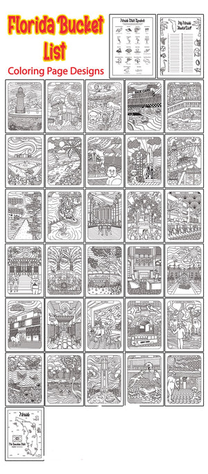 Florida Bucket List Printable Coloring Book - 33 Pages