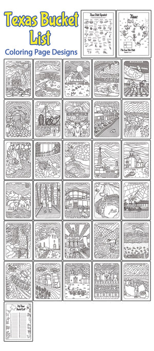 Texas Bucket List Printable Coloring Book - 33 Page PDF Download