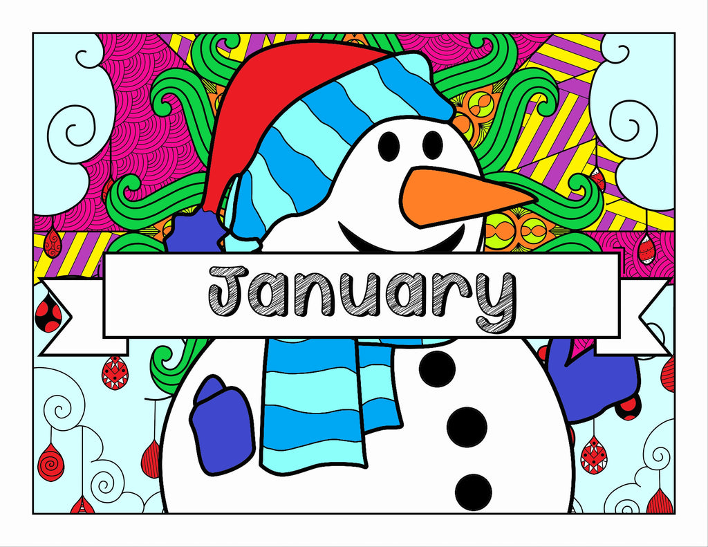 January and Winter-Themed Coloring Book and Planner, Mandalas - 35-Page Printable Digital PDF for Adults and Children