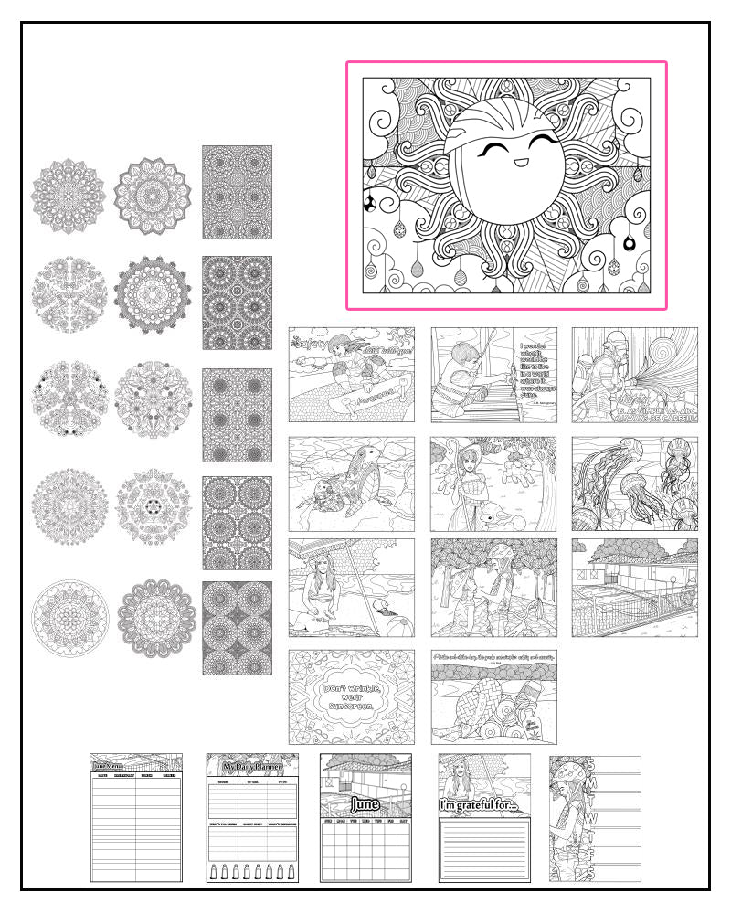 June Sports and Summer Themed Printable Coloring Pages & Journal Planner Pages
