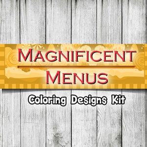 Magnificent Menus Planner - 35 Page Printable Digital Journal and Coloring Book Pages