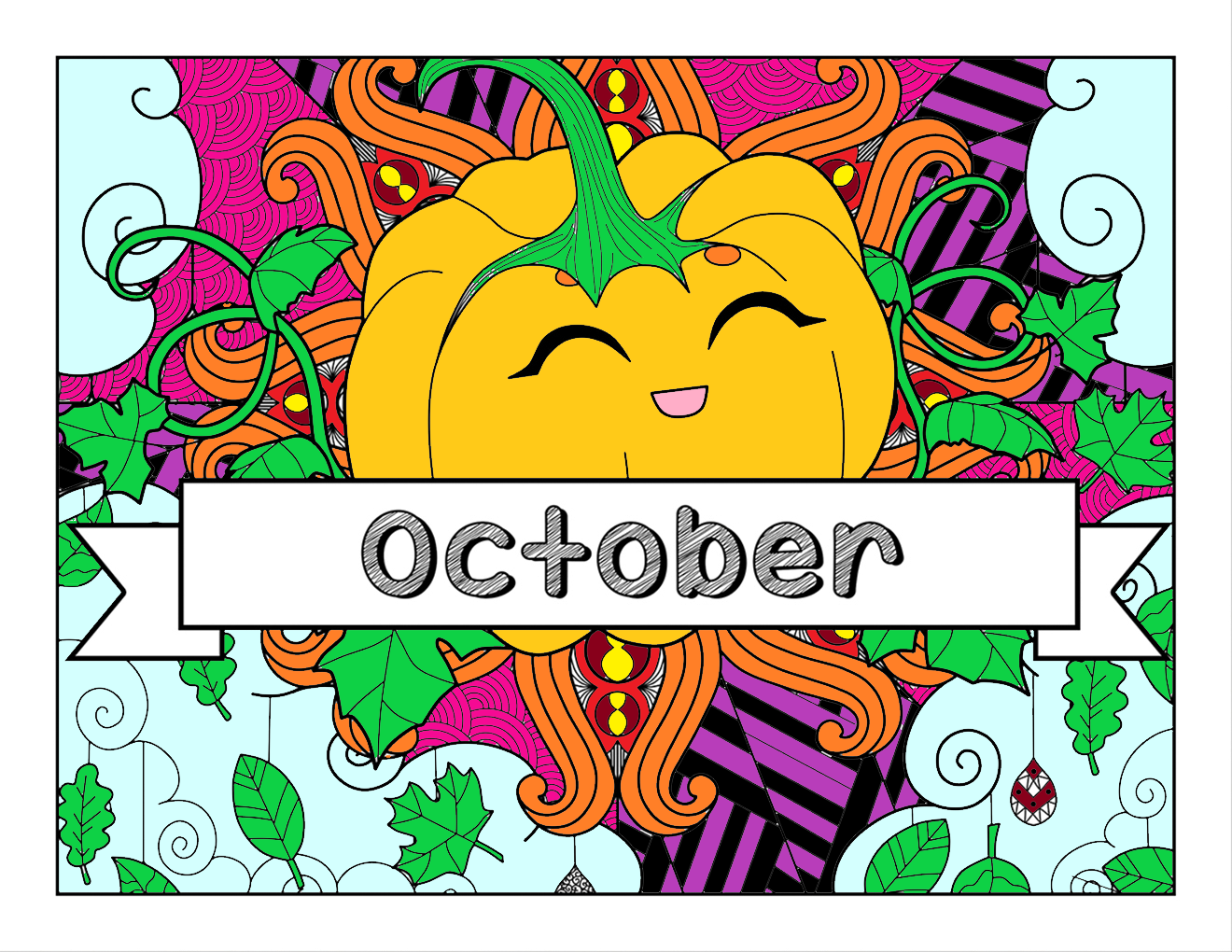October, Fall & Halloween-themed Coloring Book and Planner, Mandalas - 35-Page Printable PDF for Adults and Children