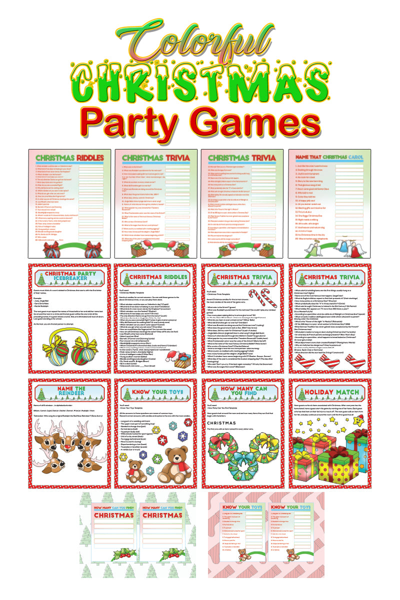 COLORFUL Christmas Party Games 14-Page Printable and Digital PDF