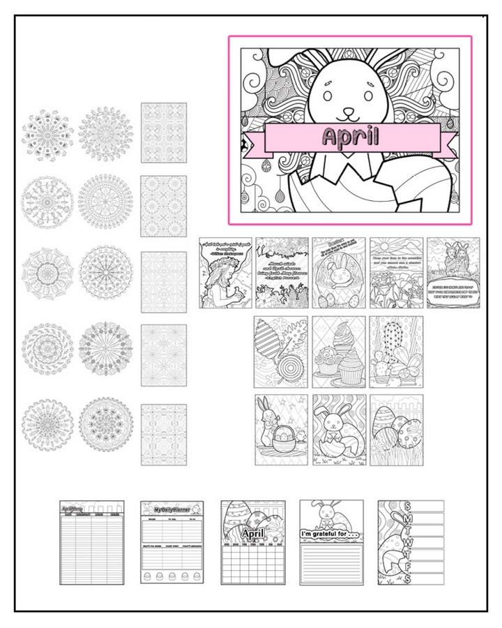 April 2020 Printable Coloring Pages & Journal Planner Pages