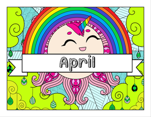 April and Unicorn-Themed Printable Coloring Pages & Journal Planner Pages