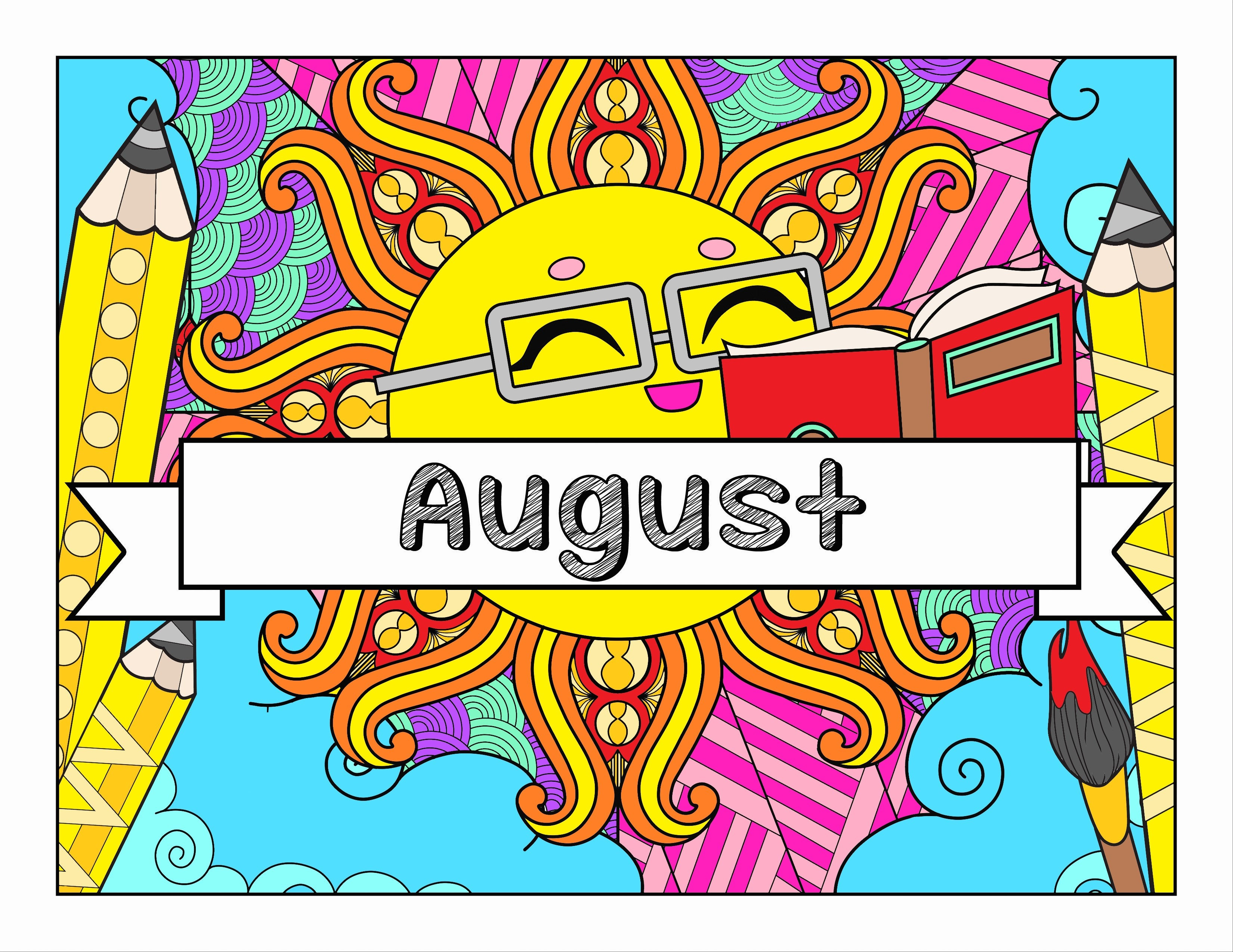 August and School-Themed Coloring Book and Planner, Mandalas - 33-Page Printable PDF for Adults and Children