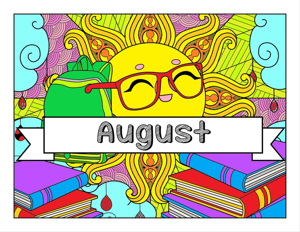 August and School-Themed Coloring Book and Planner, Mandalas - 35-Page Printable PDF for Adults and Children