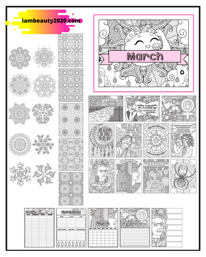 Printable Adult Coloring Book Pages & March Calendar Planner PDF Bundle - I Am Beauty Watch Me Soar! Skincare beauty and wellness planner