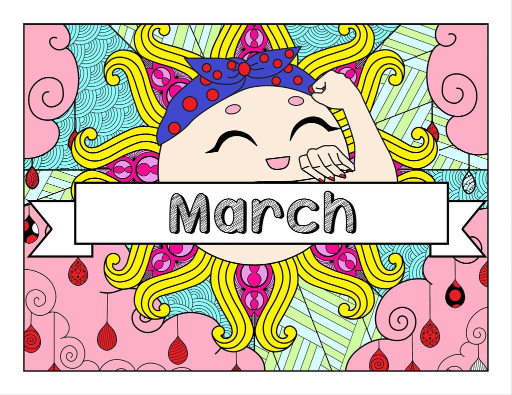 March and Women's Empowerment-Themed Printable Coloring Pages and Journal Planner Pages
