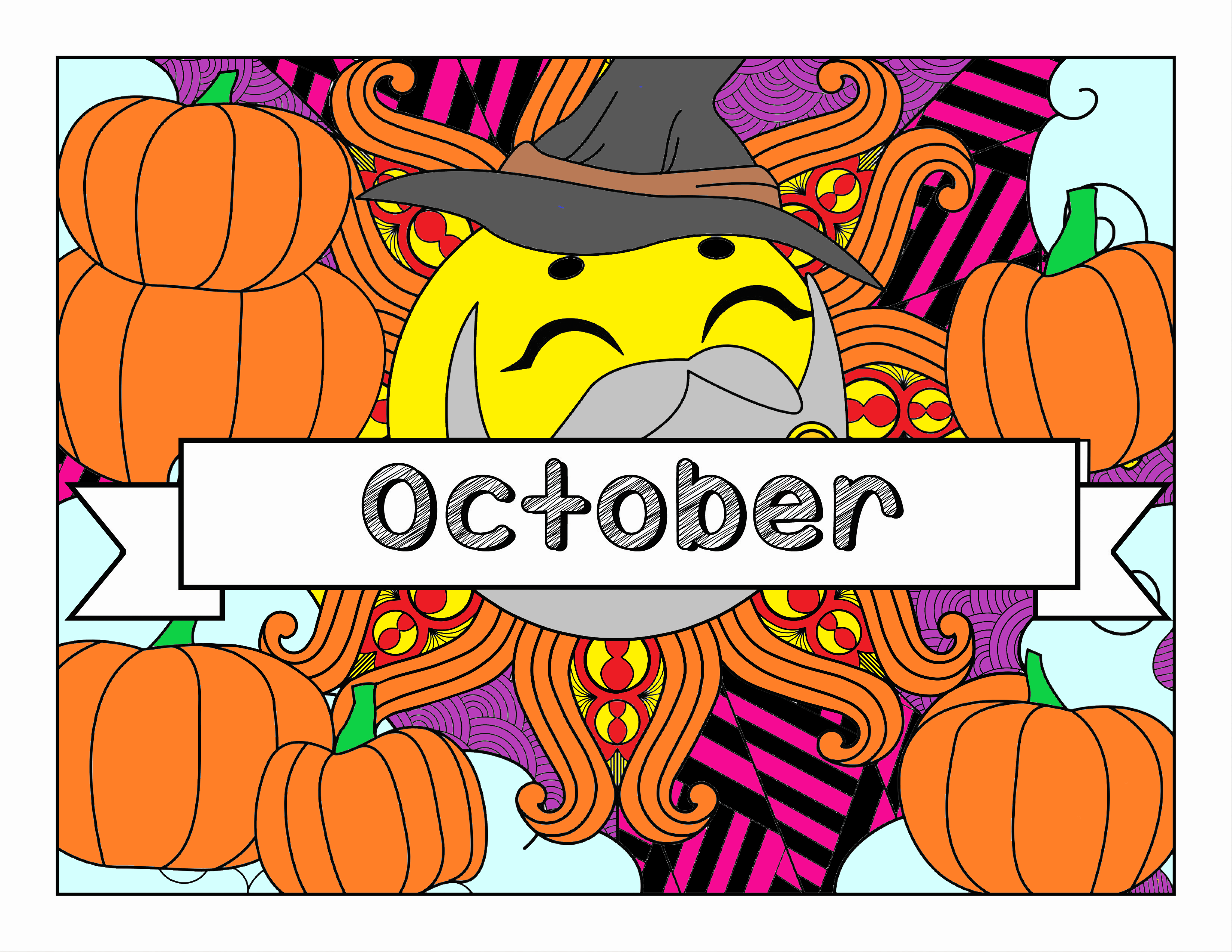 October, Fall & Halloween-themed Coloring Book and Planner, Mandalas - 33-Page Printable PDF for Adults and Children