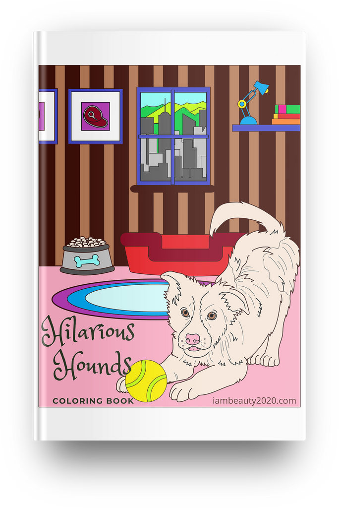 Hilarious Hounds 50-Page Printable Digital Dog-Themed Coloring Book PDF