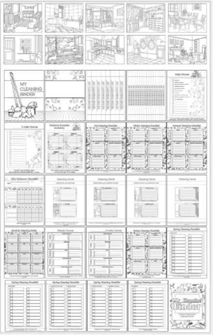 Household Cleaning Coloring Journal Binder 35-page Printable
