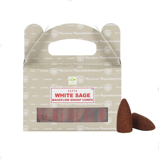 Satya White Sage Backflow Incense Cones - GOLDENHANDS