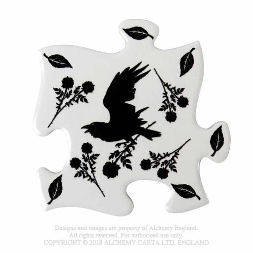 Black Raven & Rose Set of 4 Jigsaw Coasters By Alchemy - GOLDENHANDS