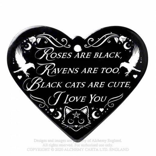 Roses Are Black Poetic Heart Trivet/Coaster By Alchemy - GOLDENHANDS