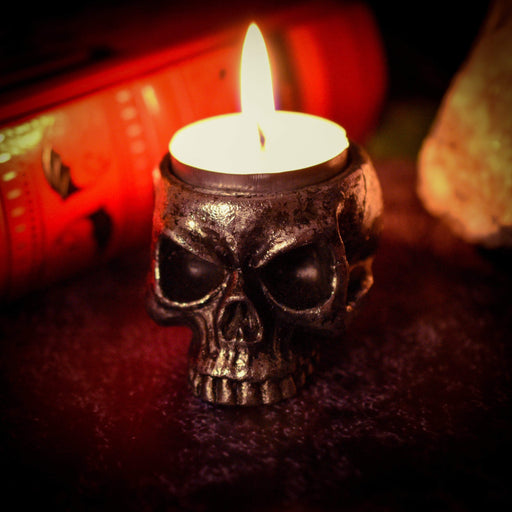 Skull Tea Light Holder By Alchemy - GOLDENHANDS