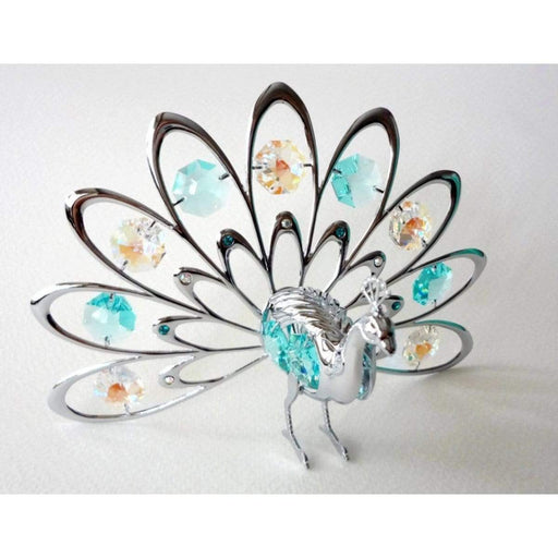 Fan Out Peacock Chrome Plated Ornament With Crystal Detailing From Swarovski® By Crystocraft - GOLDENHANDS
