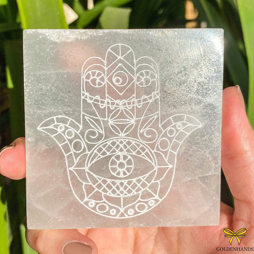 Selenite Hamsa Hand Etched Square - GOLDENHANDS