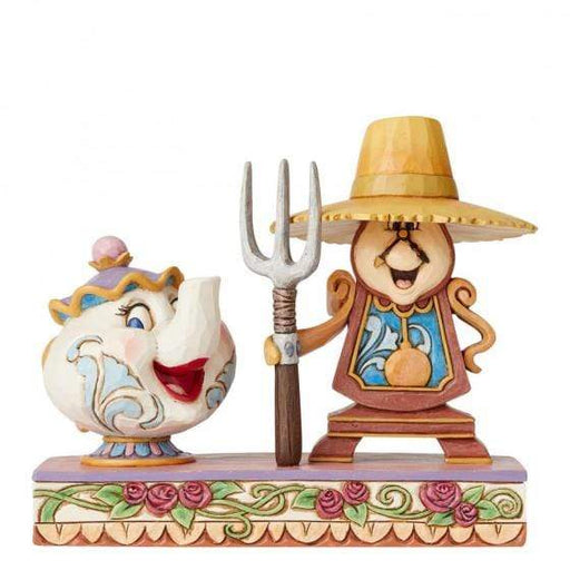 Workin' Round the Clock - Mrs Potts and Cogsworth Disney Figurine From Beauty And The Beast - GOLDENHANDS