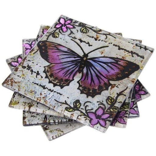 Lavender Butterfly 4 Coasters - GOLDENHANDS