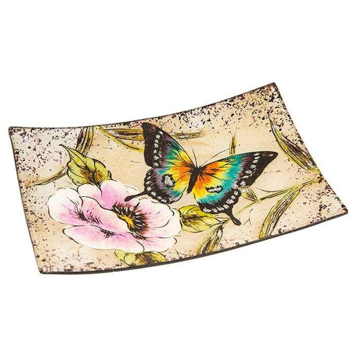 Peacock Butterfly Small Rectangle Plate - GOLDENHANDS