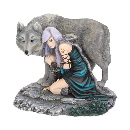 Protector Wolf Figurine by Anne Stokes (Limited Edition) Fantasy Wolf Ornament - GOLDENHANDS