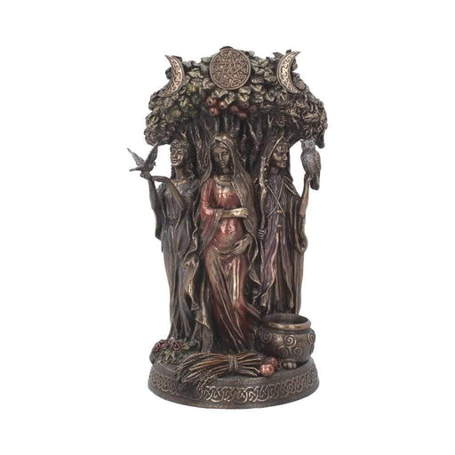 Maiden, Mother Crone Bronzed Triple Moon Figurine - GOLDENHANDS
