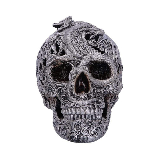 Cranial Drakos Engraved Silver Dragon Skull Ornament - GOLDENHANDS