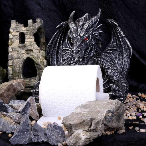 Obsidian Menacing Gothic Dragon Toilet Roll Holder - GOLDENHANDS