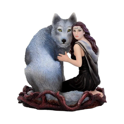 Soul Bond hand-painted wolf and woman resin figurine by Anne Stokes - GOLDENHANDS
